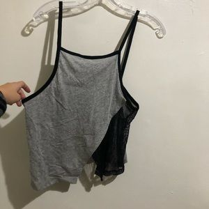 LF Emma & Sam Grey Black Mesh Tank Top EUC